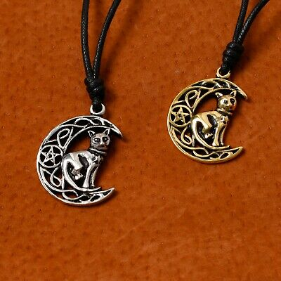 Celtic Moon and Cat Silver Pewter Gold Brass Charm Necklace Pendant Jewelry