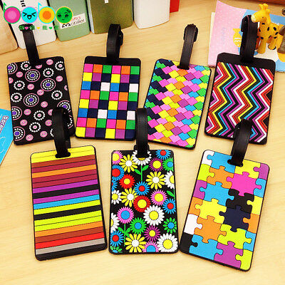 Colorful Suitcase Luggage Tags Name Address ID Holder Silicone Identifier Label