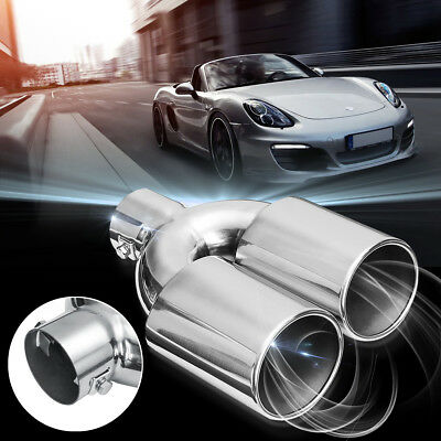 Universal 60mm Stainless Steel Dual Twin Exhaust Muffler Tail Pipe Tip Chrome