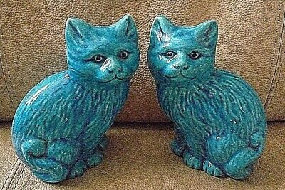 "PAIR OF VINTAGE TURQUOISE  CERAMIC CHINESE/ORIENTAL CATS ~ 5"" high"