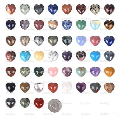 20mm Gemstone Rock crystal puff LOVE hearts Crystal healing Reiki pocket stone