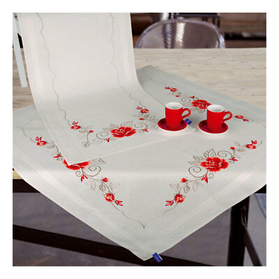 Embroidery Kit Runner Elegant Roses Design Stitched on Cotton Fabric  40 x 100cm