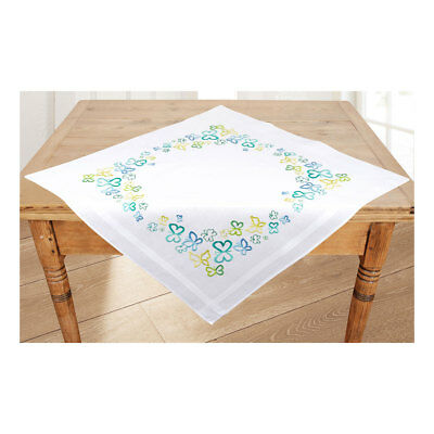 Embroidery Kit Tablecloth Butterflies in Green Design Stitched on Ecru 80x80cm