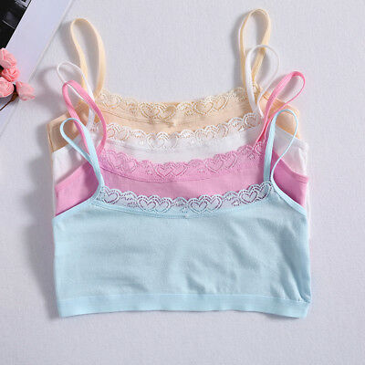 Young Girls Lace Bra Puberty Teenage Soft Cotton Underwear Training Bra 8-14Y
