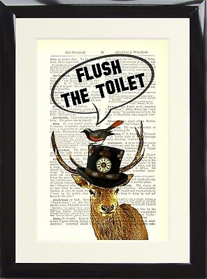 Steampunk Stag Deer Flush the Toilet Dictionary Art Funny Loo Bathroom Sign