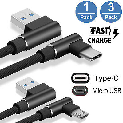 3X  Braided 90° Right Angle Adapt  Type C/Micro USB Fast Data Sync Charger Cable
