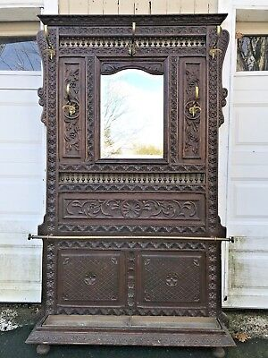 Antique French Black Forest Carved Wood HALL TREE w/Mirror