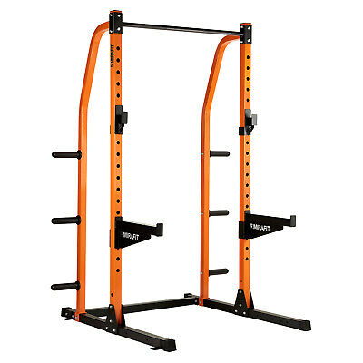 Mirafit M2 Half Power Rack Squat Cage with Weight Disc Storage Pull Up/Dip Bar