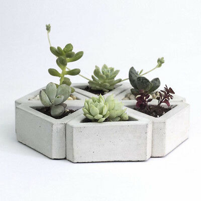 3D Flowerpot Silicone Mold Handmade Triangular Concrete for Succulent Plants DIY