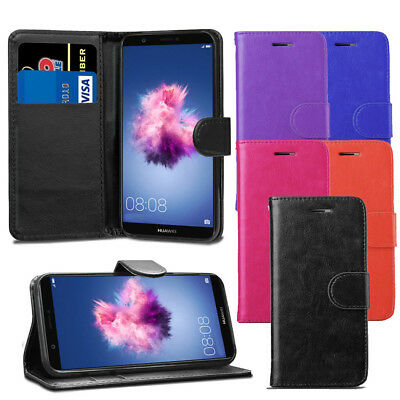 For Huawei P Smart 2017 - Premium Leather Wallet Flip Case Cover + Screen Guard