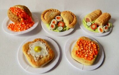 "Dolls House Miniature 5 X Mixed Food Lunch On 1"" Cardboard Plates Combined P+P"
