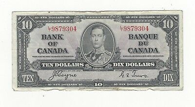 *1937*Bank of Canada BC-24c, $10 Coy/Tow SN, L/T 9879304