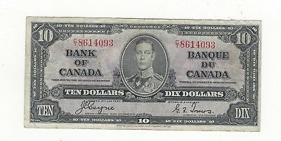 *1937*Bank of Canada BC-24c, $10 Coy/Tow SN, C/T 8614093