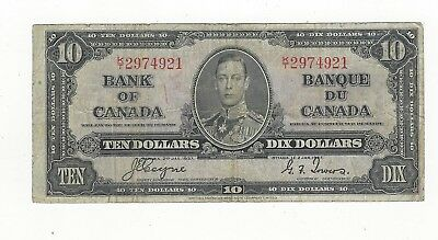 *1937*Bank of Canada BC-24c, $10 Coy/Tow SN, K/T 2974921