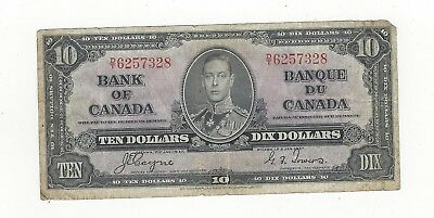 *1937*Bank of Canada BC-24c, $10 Coy/Tow SN, D/T 6257328