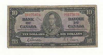 *1937*Bank of Canada BC-24b, $10 Gor/Tow SN, B/D 0175676