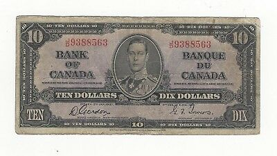 *1937*Bank of Canada BC-24b, $10 Gor/Tow SN, J/D 9388563