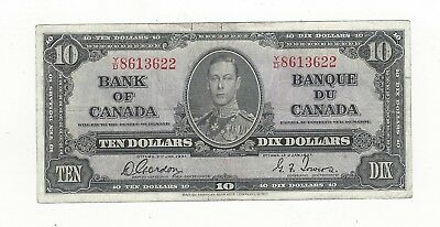 *1937*Bank of Canada BC-24b, $10 Gor/Tow SN, Y/D 8613622