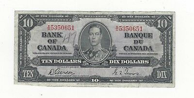 *1937*Bank of Canada BC-24b, $10 Gor/Tow SN, X/D 5350651