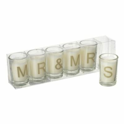 Mr & Mrs Glass Candles Set Gold Letters