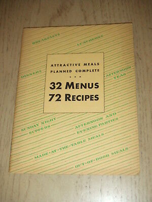 VINTAGE 1931 Rumford Baking Powder 32 Menus 72 Recipes Planned Meals Cookbook RI