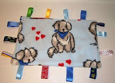 NEW! Taggie Ribbon Blanket Baby BLUE PUPPY DOG