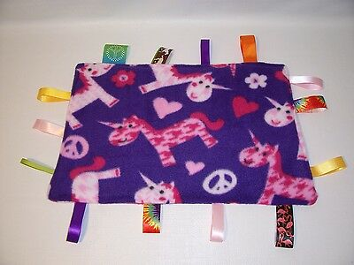 NEW! Taggie Sensory Ribbon Blanket Toddlers Baby PURPLE PINK
