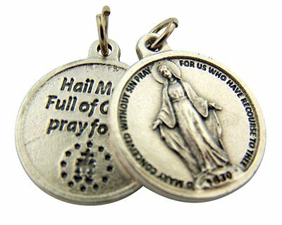 Silver Toned Base Miraculous Medal with Hail Mary Prayer Back, 3/4 Inch