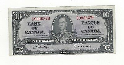 *1937*Bank of Canada BC-24b, $10 Gor/Tow SN, W/D 9926376
