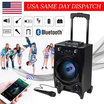BT Party Speaker System Bluetooth Big Led Portable Stereo Tailgate Loud w/ Mic