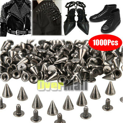 1000 x Trendy 10mm Black-Silver Spots Cone Screw Metal Studs Rivet Bullet Spikes