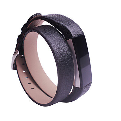Black Long Leather Band Single/Double Tour Bracelet Strap For Fitbit Alta/HR Hot