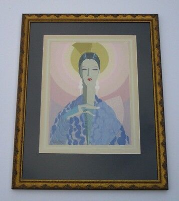 Antique Glamour Painting Portrait Art Deco Cubism Roy Dennis Fox 1930's Modern