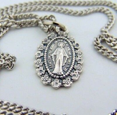Silver Toned Base Mother Mary Miraculous Medal Pendant with Floral Border