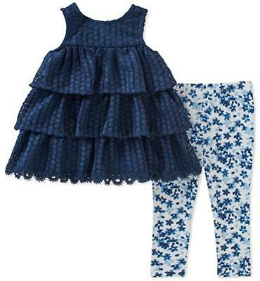 Calvin Klein Infant Girls Navy Tunic 2pc Legging Set Size 3/6M 6/9M $50