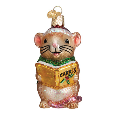 """Caroling Mouse"" (Brown) (12427)X Old World Christmas Glass Ornament w/ OWC Box"