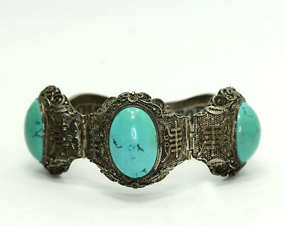 Antique Chinese Export Sterling Turquoise Filigree Symbol Hinged Bracelet 7""
