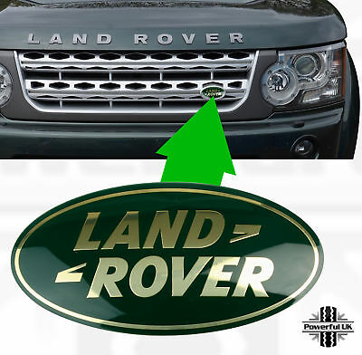 genuine land rover discovery 4 green+gold front grille oval