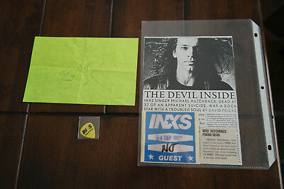 1997 INXS backstage satin guest pass, pick  & SIGNED flyer Farris & Hutchinson