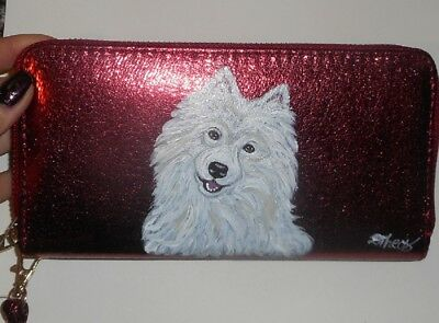 American Eskimo dog Hand Painted Leather Ladies Wallet Vegan