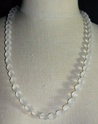 Vintage Frosted White Clear Faceted Glass Bead Beaded Necklace Craft or Wear