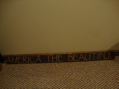 Country handcrafted LARGE wood sign  AMERICA THE BEAUTIFUL