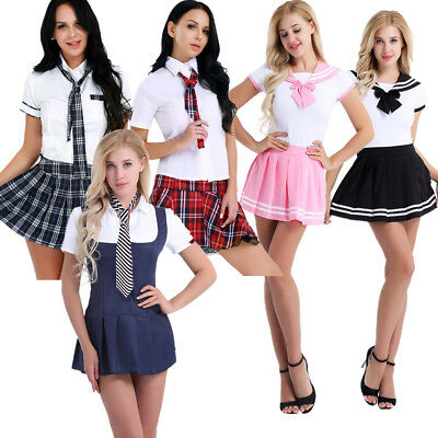 Japanese Schoolgirl Sailor Uniform Dress Outfit Cosplay Costume Fancy Mini Skirt