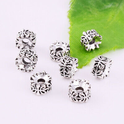 Tibetan Silver Carving Spacer Beads Round Metal Loose Jewelry Findings 7x4mm