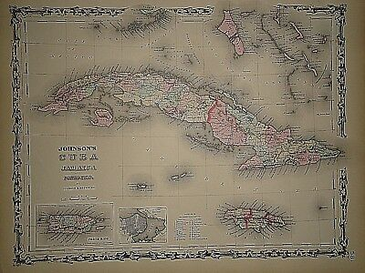 Vintage 1861 CUBA  MAP Old Antique Original Atlas Map 40218