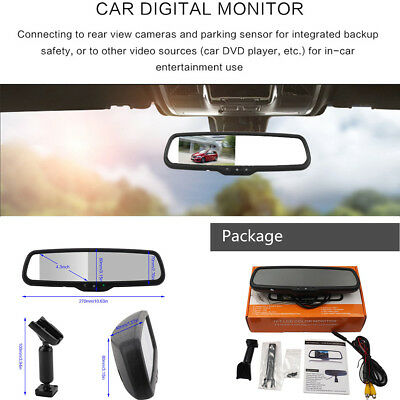 "Car Interior Rear View Mirror 4.3""TFT LCD Monitor With 1# Original Bracket Handy"