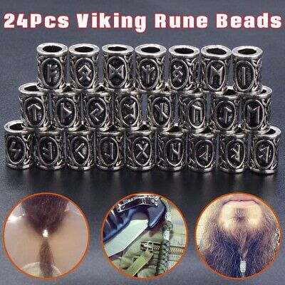 24pcs Viking Norse Rune Beads For Beard/Hair/Necklace/ Dreadlock Beads Jewelry