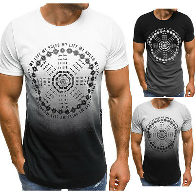 Men's Slim Fit O Neck Short Sleeve Muscle Tee Shirts T-shirt Casual Tops Blouse