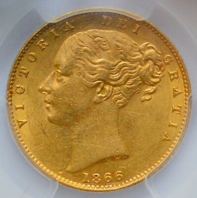 PCGS AU-55 1869 Queen Victoria Gold Shield Sovereign - Die 39 - From 1996 DOURO