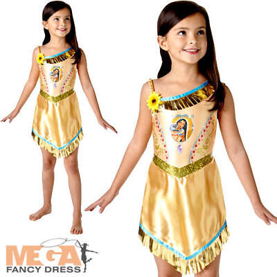 Pocahontas Girls Fancy Dress Disney Princess Fairytale Book Childrens Costume